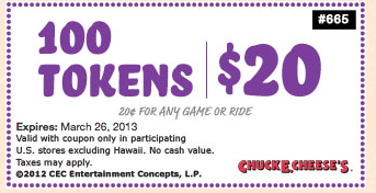 chuck e cheese coupons 100 tokens for $10 2017