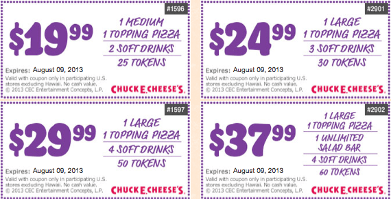 Chuck e cheese coupons august 2019