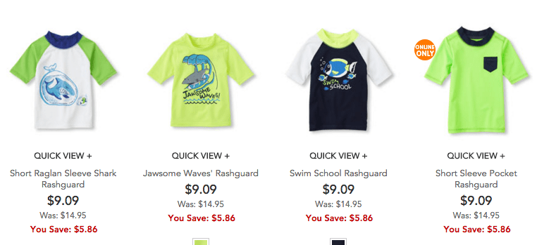 rash guards at the childrens place discount deal swimwear for kids