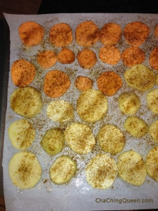 Tonight's Dinner 9-30-13 Cheesy Foldovers, Oven Potatoes, and Veggies