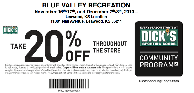 Coupons dick sporting goods
