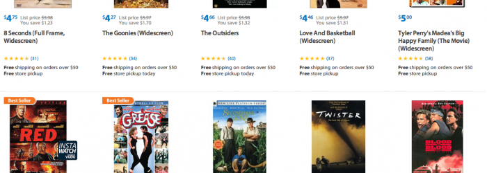 discounted movies and tv shows at walmart cha ching