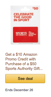 sports authority gift card deal free amazon gift card december 2015