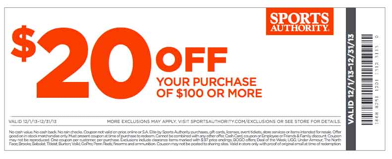 We have 6 sports authority coupons for you to consider including 6 promo codes and 0 deals in December Grab a free herelfilesvj4.cf coupons and save money.5/5(1).