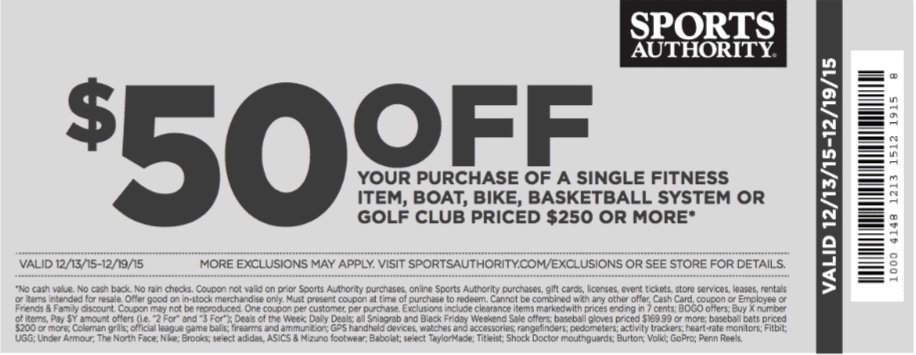 Discount coupons for sports authority in store