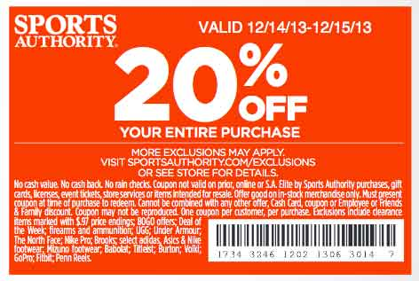 20 off your entire purchase sports authority printable coupon december 2013