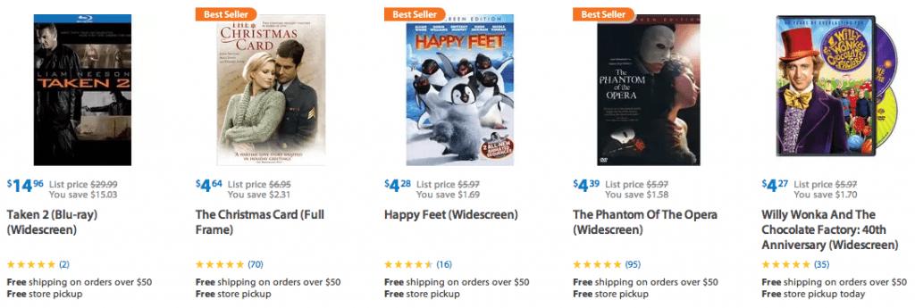 walmart discounted movies 5 dollars deals cha ching