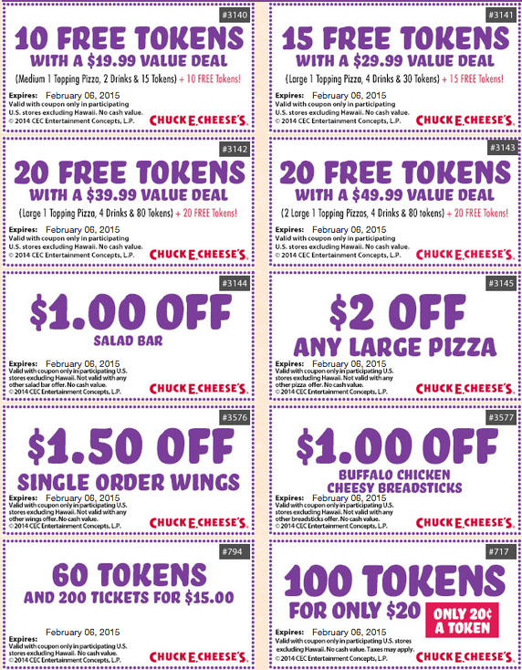 chuck e cheese token coupons