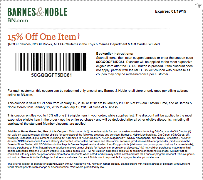 Coupon code barnes and noble used books