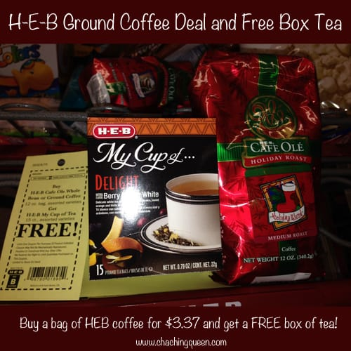 HEB Ground Coffee Deal and Free Box Tea