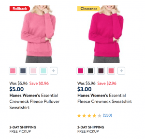 Deal on Sweatshirts and Sweatpants hanes at walmart