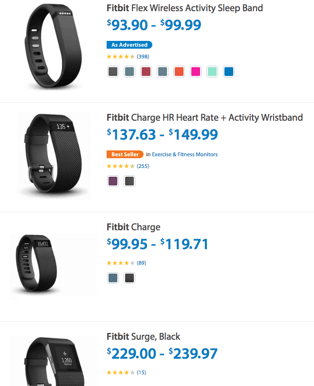 Walmart Best Prices - Fitbit One, Flex, Charge (HR), Surge, Zip