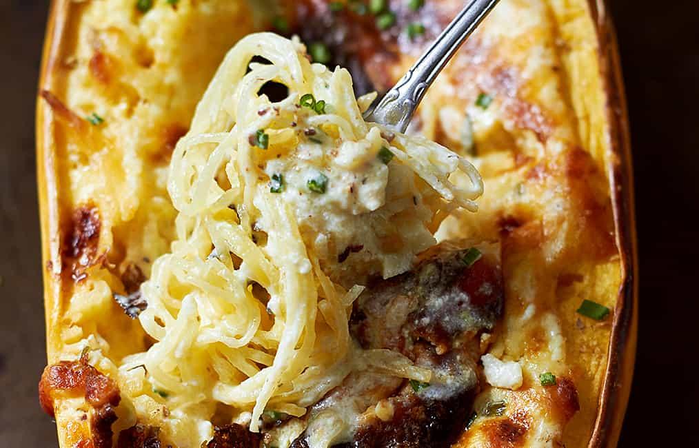 Baked Four Cheese Garlic Spaghetti Squash