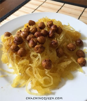Roasted Chickpeas on Spaghetti Squash - Gluten Free and Paleo Recipe