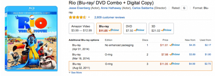Deal on Rio (Blu-ray: DVD Combo + Digital Copy) amazon