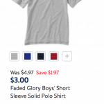 Discounted Kids Short Sleeve Polos $4 each at Walmart