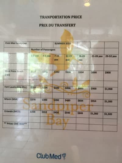 Club Med Sandpiper Bay Transport Package Chart