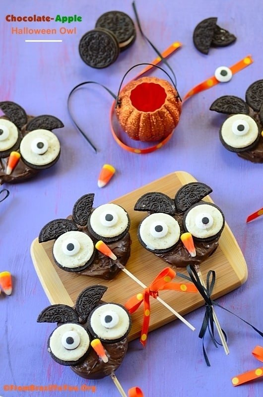 Chocolate Apple Halloween Owl Oreos dessert