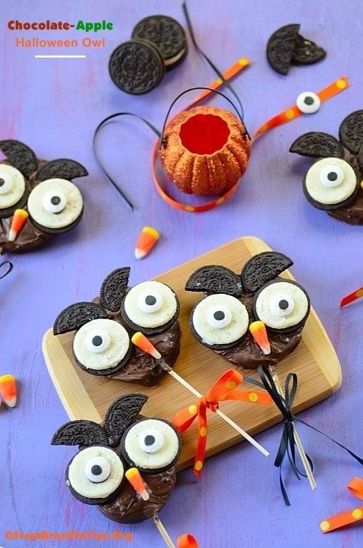Chocolate Apple Halloween Owl Oreos dessert