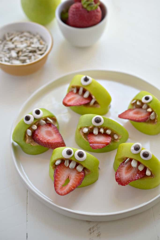 easy halloween treats recipes silly apple bites moster faces halloween treat - Easy Halloween Appetizer Recipes With Pictures
