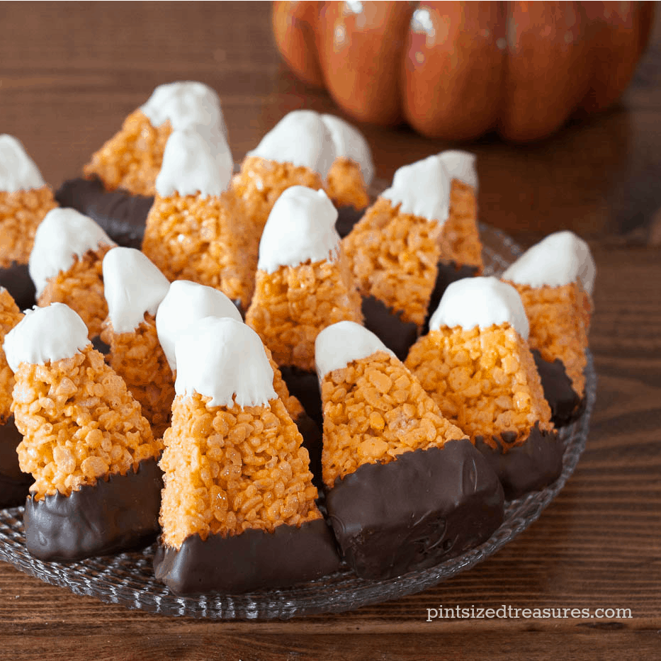 candy-corn- rice crispy treats halloween