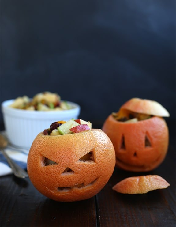 grapefruit jack o lanterns no sugar halloween treat healthy