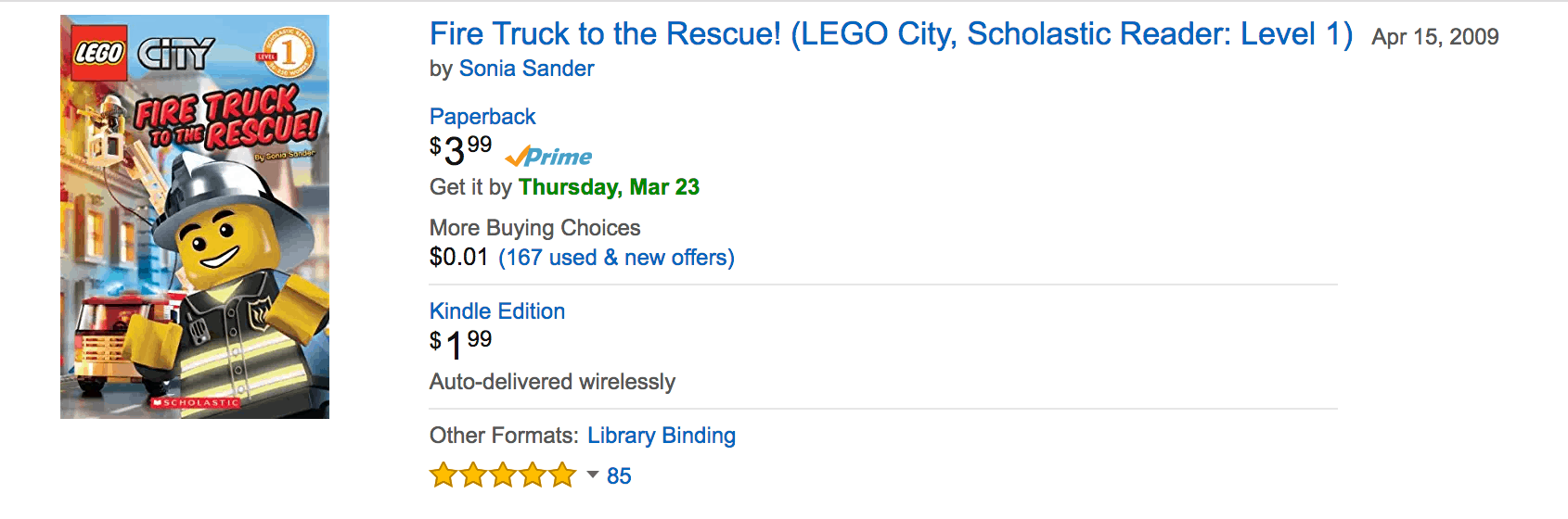 Fire Truck to the Rescue lego book discounted
