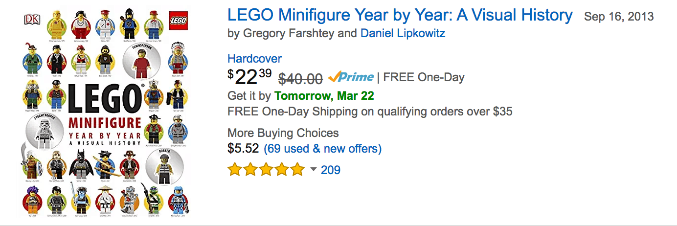 LEGO Minifigure Year by Year legos books deals on amazon