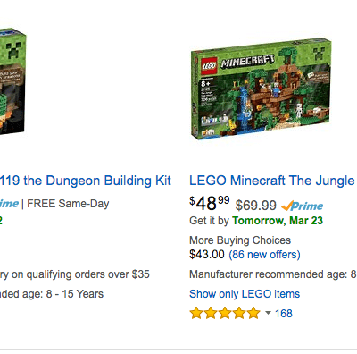 Minecraft LEGO Toys Discounted as much as 50% off