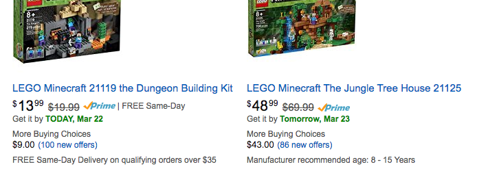 Minecraft LEGO Toys Discounted
