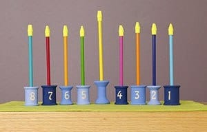 Wooden Spool Menorah - DIY Kids Menorah Make at Home