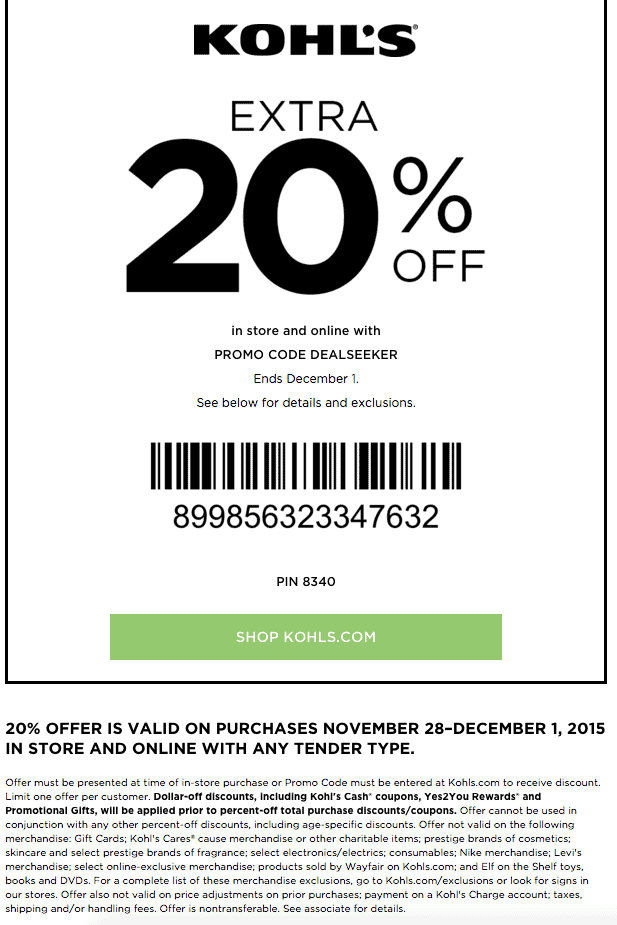 kohls printable coupon november 2015 20 percent off