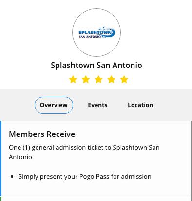 Splashtown San Antonio one free ticket with pogo pass