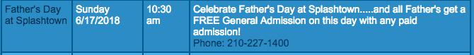 free tickets splashtown on fathers day 2018