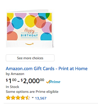 gift cards for Amazon and other brands