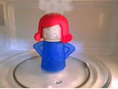 kitchen gizmo microwave cleaner steam person