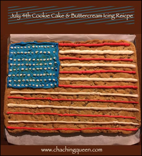 July 4th cookie cake with buttercream icing recipe for American flag cake decoration