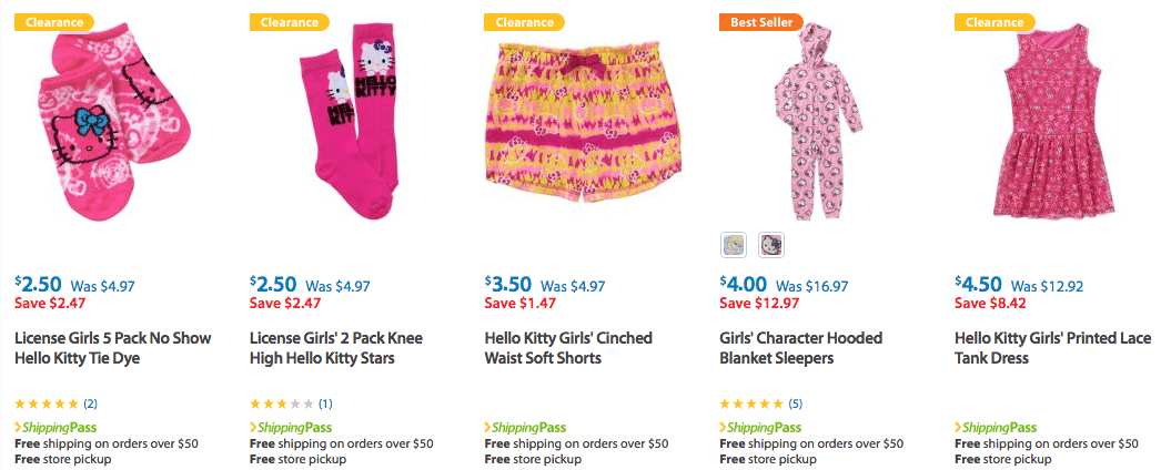 On Clearance – Lots of Hello Kitty Girls Clothes