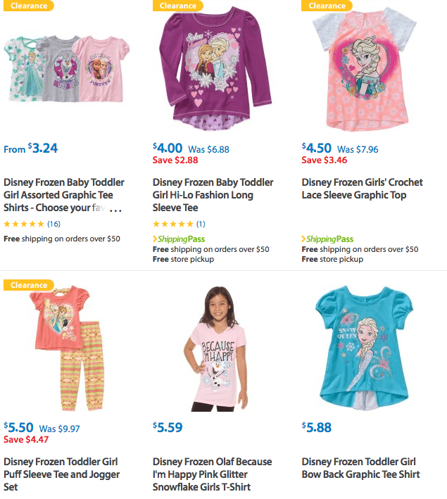 Clearance and Rollbacks Disney Frozen Shirts for Kids