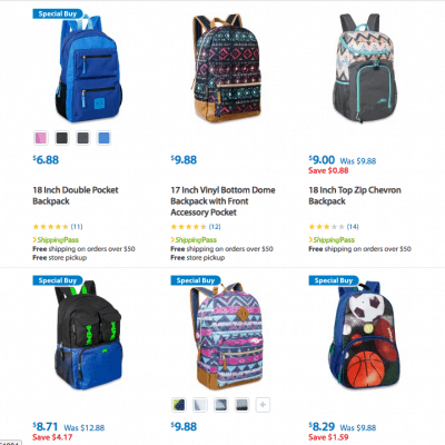 Discount on Lots of Backpacks – Under $10 at Walmart