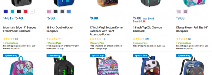 Discount on Lots of Backpacks kids walmart under 10 dollars