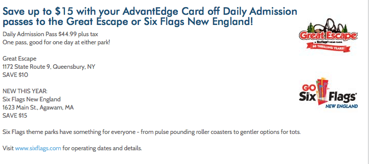 Great Escape or Six Flags New England coupon price chopper