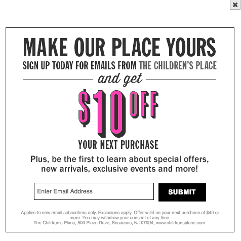 The Children's Place - Printable Coupons and Coupon Codes email sign up coupon