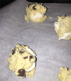 Cream Filled Chocolate Chip Cookie Recipe icing before baking