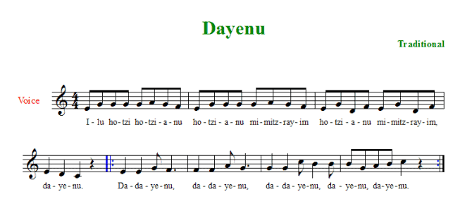 dayenu passover song short passover seder music score