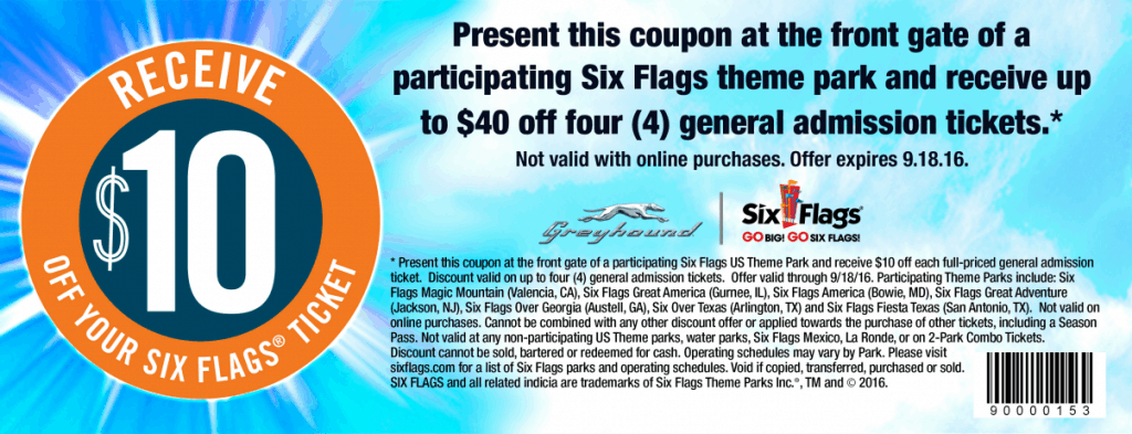 Discount coupons for six flags maryland