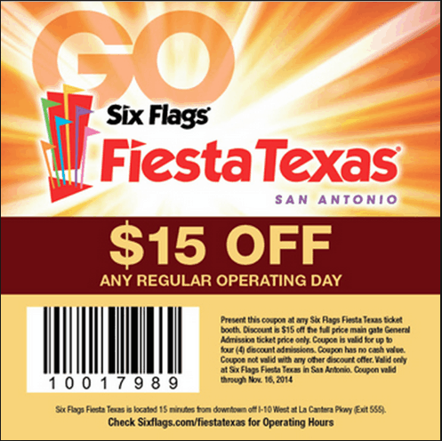 $15 off your ticket at Fiesta Texas up to 60% off membership at Great Adventure & Safari, Jackson, New Jersey July 4th Sale - up to 50% off membership at Six Flags Over Texas Arlington, Texas up to 60% off membership at Six Flags Hurricane Harbor Arlington up to 55% off membership at Six Flags St. Louis up to 60% off membership at Six Flags New England up to 65% off membership at Six Flags.