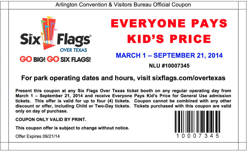 Six flags discount coupon