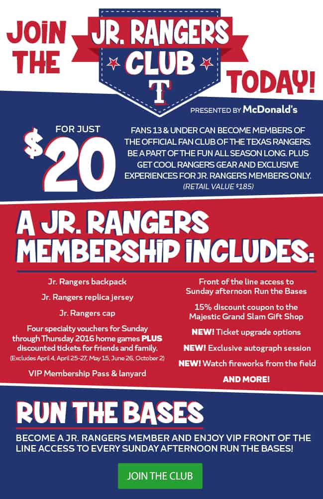 JR. RANGERS kids club for the Texas Rangers Baseball Team MLB