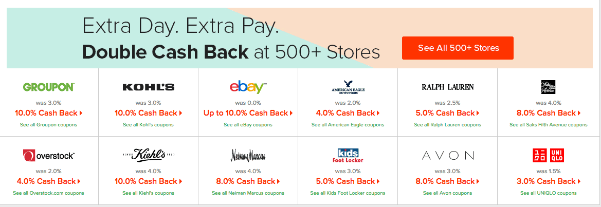 cash back shopping online at ebates with coupon codes